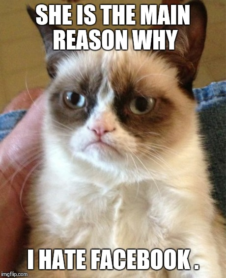 Grumpy Cat Meme | SHE IS THE MAIN REASON WHY I HATE FACEBOOK . | image tagged in memes,grumpy cat | made w/ Imgflip meme maker