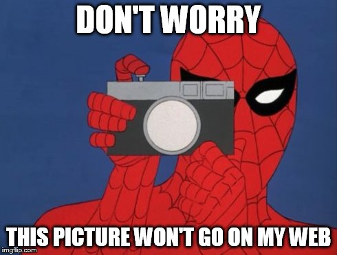 Spiderman Camera | DON'T WORRY THIS PICTURE WON'T GO ON MY WEB | image tagged in memes,spiderman camera,spiderman | made w/ Imgflip meme maker