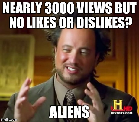 Ancient Aliens Meme | NEARLY 3000 VIEWS BUT NO LIKES OR DISLIKES? ALIENS | image tagged in memes,ancient aliens | made w/ Imgflip meme maker