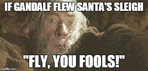 "Gandalf Fly You Fools | IF GANDALF FLEW SANTA'S SLEIGH ""FLY, YOU FOOLS!"" 