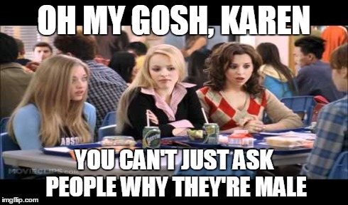 OH MY GOSH, KAREN YOU CAN'T JUST ASK PEOPLE WHY THEY'RE MALE | made w/ Imgflip meme maker