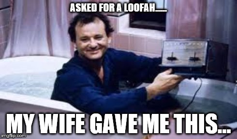 nothing like  | ASKED FOR A LOOFAH...... MY WIFE GAVE ME THIS... | image tagged in bill murray,toast,funny,funny memes,movies | made w/ Imgflip meme maker