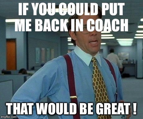 That Would Be Great Meme | IF YOU COULD PUT ME BACK IN COACH THAT WOULD BE GREAT ! | image tagged in memes,that would be great | made w/ Imgflip meme maker