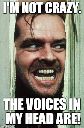 Heres Johnny | I'M NOT CRAZY. THE VOICES IN MY HEAD ARE! | image tagged in memes,heres johnny | made w/ Imgflip meme maker