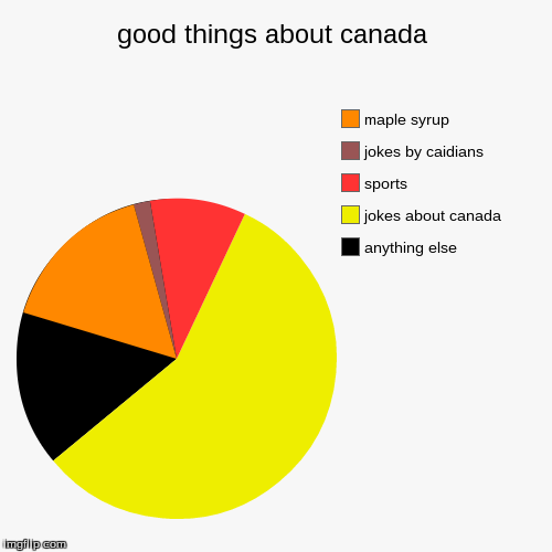good things about canada | anything else, jokes about canada, sports, jokes by caidians, maple syrup | image tagged in funny,pie charts | made w/ Imgflip chart maker