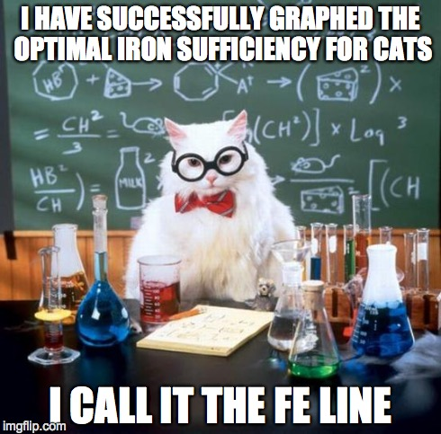 Chemistry Cat Meme | I HAVE SUCCESSFULLY GRAPHED THE OPTIMAL IRON SUFFICIENCY FOR CATS I CALL IT THE FE LINE | image tagged in memes,chemistry cat | made w/ Imgflip meme maker