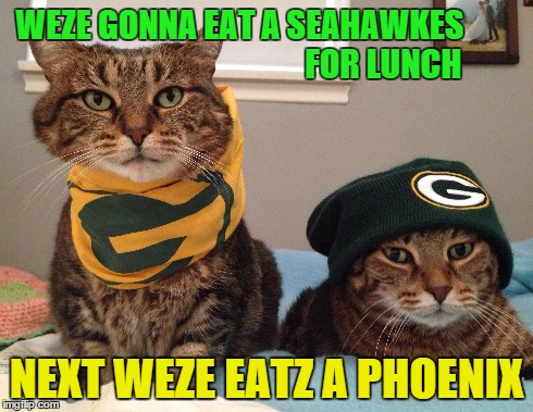Packer Cat Meme | WEZE GONNA EAT A SEAHAWKES                                            FOR LUNCH NEXT WEZE EATZ A PHOENIX | image tagged in packers,seahawkes,nfc championship,packers cat | made w/ Imgflip meme maker