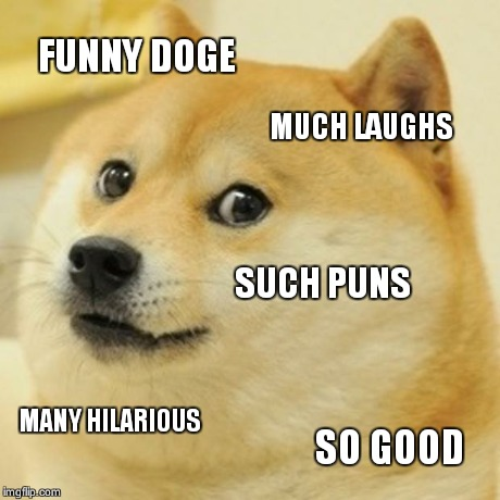 Doge Meme | FUNNY DOGE MUCH LAUGHS SUCH PUNS MANY HILARIOUS SO GOOD | image tagged in memes,doge | made w/ Imgflip meme maker