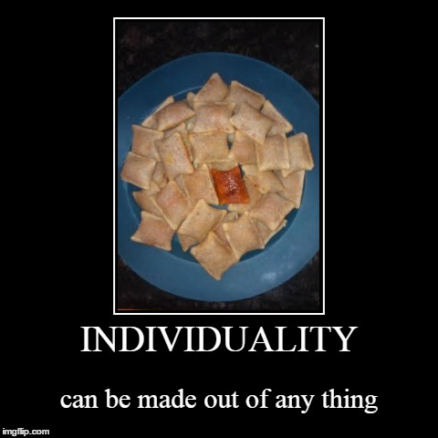 INDIVIDUALITY | can be made out of any thing | image tagged in funny,demotivationals | made w/ Imgflip demotivational maker