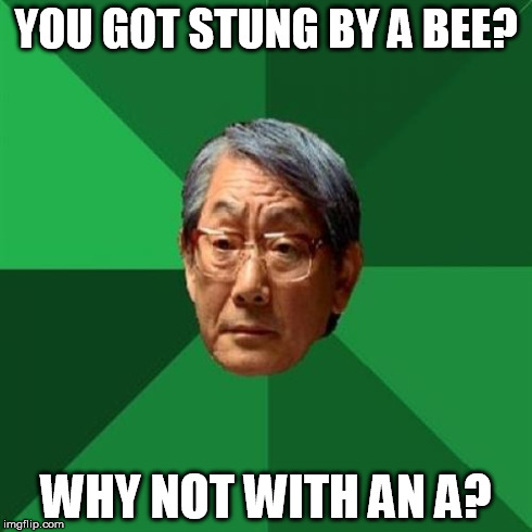 High Expectations Asian Father | YOU GOT STUNG BY A BEE? WHY NOT WITH AN A? | image tagged in memes,high expectations asian father | made w/ Imgflip meme maker