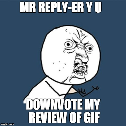 MR REPLY-ER Y U DOWNVOTE MY REVIEW OF GIF | image tagged in memes,y u no | made w/ Imgflip meme maker