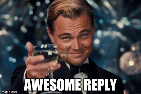 Leonardo Dicaprio Cheers Meme | AWESOME REPLY | image tagged in memes,leonardo dicaprio cheers | made w/ Imgflip meme maker