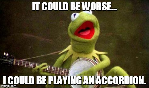 Why Kermit Banjo | IT COULD BE WORSE... I COULD BE PLAYING AN ACCORDION. | image tagged in why kermit banjo | made w/ Imgflip meme maker