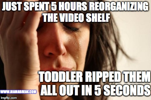 First World Problems Meme | JUST SPENT 5 HOURS REORGANIZING THE VIDEO SHELF TODDLER RIPPED THEM ALL OUT IN 5 SECONDS WWW.MAMABREAK.COM | image tagged in memes,first world problems | made w/ Imgflip meme maker