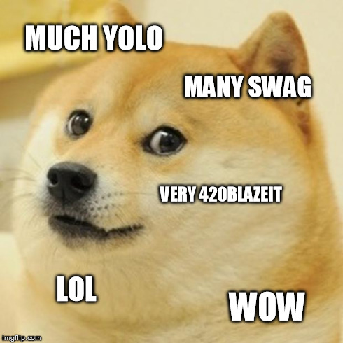 Doge Meme | MUCH YOLO MANY SWAG VERY 420BLAZEIT LOL WOW | image tagged in memes,doge | made w/ Imgflip meme maker