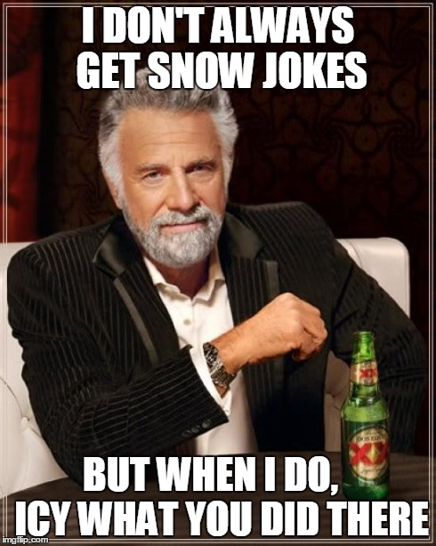 Why do I keep making memes? | I DON'T ALWAYS GET SNOW JOKES BUT WHEN I DO,   ICY WHAT YOU DID THERE | image tagged in memes,the most interesting man in the world | made w/ Imgflip meme maker