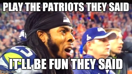 PLAY THE PATRIOTS THEY SAID IT'LL BE FUN THEY SAID | image tagged in superbowl,patriots,seahawks lose | made w/ Imgflip meme maker