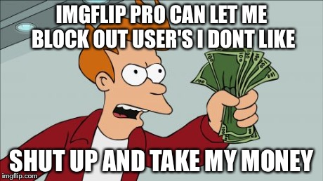 Shut Up And Take My Money Fry Meme | IMGFLIP PRO CAN LET ME BLOCK OUT USER'S I DONT LIKE SHUT UP AND TAKE MY MONEY | image tagged in memes,shut up and take my money fry | made w/ Imgflip meme maker