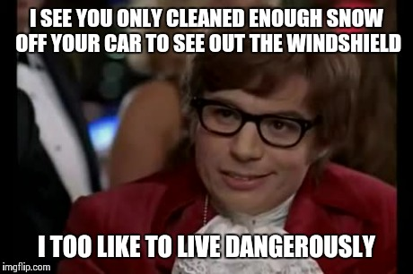 I Too Like To Live Dangerously Meme | I SEE YOU ONLY CLEANED ENOUGH SNOW OFF YOUR CAR TO SEE OUT THE WINDSHIELD I TOO LIKE TO LIVE DANGEROUSLY | image tagged in memes,i too like to live dangerously | made w/ Imgflip meme maker