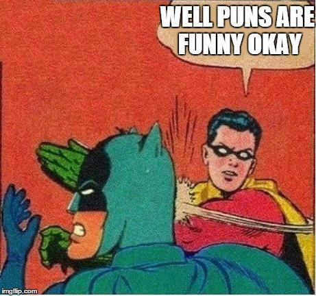 Robin Just Don't Care | WELL PUNS ARE FUNNY OKAY | image tagged in robin just don't care | made w/ Imgflip meme maker