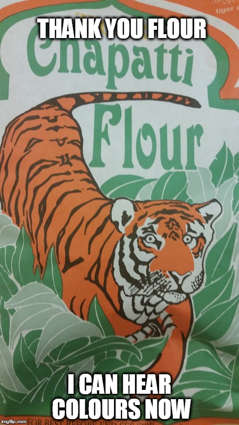 Yeah to much flour ain't good for Tigers you know... | THANK YOU FLOUR I CAN HEAR COLOURS NOW | image tagged in flourtiger,high and creepy,flour,your drawing is bad and you should feel bad | made w/ Imgflip meme maker
