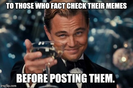 Leonardo Dicaprio Cheers Meme | TO THOSE WHO FACT CHECK THEIR MEMES BEFORE POSTING THEM. | image tagged in memes,leonardo dicaprio cheers | made w/ Imgflip meme maker