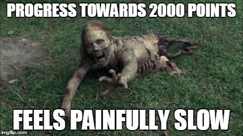 Feels painfully slow | PROGRESS TOWARDS 2000 POINTS FEELS PAINFULLY SLOW | image tagged in bicycle girl from walking dead,bicycle girl,the walking dead,zombies,noob,imgflip | made w/ Imgflip meme maker