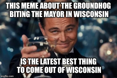 THIS MEME ABOUT THE GROUNDHOG BITING THE MAYOR IN WISCONSIN IS THE LATEST BEST THING TO COME OUT OF WISCONSIN | image tagged in memes,leonardo dicaprio cheers | made w/ Imgflip meme maker