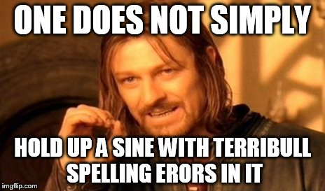 One Does Not Simply Meme | ONE DOES NOT SIMPLY HOLD UP A SINE WITH TERRIBULL SPELLING ERORS IN IT | image tagged in memes,one does not simply | made w/ Imgflip meme maker
