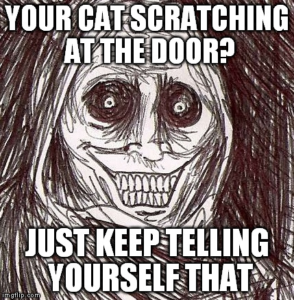 Unwanted House Guest | YOUR CAT SCRATCHING AT THE DOOR? JUST KEEP TELLING YOURSELF THAT | image tagged in memes,unwanted house guest | made w/ Imgflip meme maker