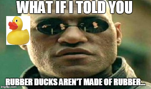 THE TRUTH!... | WHAT IF I TOLD YOU RUBBER DUCKS AREN'T MADE OF RUBBER... | image tagged in rubber ducks,matrix morpheus,what if i told you,horror,chinese factory horror,evil | made w/ Imgflip meme maker