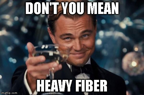 Leonardo Dicaprio Cheers Meme | DON'T YOU MEAN HEAVY FIBER | image tagged in memes,leonardo dicaprio cheers | made w/ Imgflip meme maker