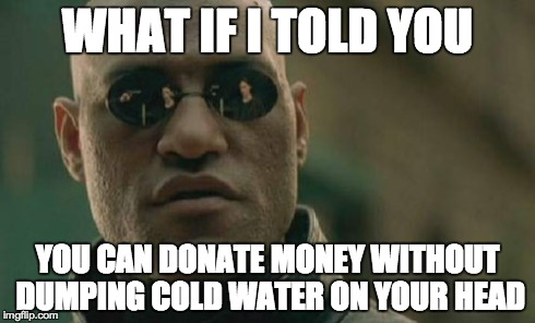 Matrix Morpheus Meme | WHAT IF I TOLD YOU YOU CAN DONATE MONEY WITHOUT DUMPING COLD WATER ON YOUR HEAD | image tagged in memes,matrix morpheus | made w/ Imgflip meme maker