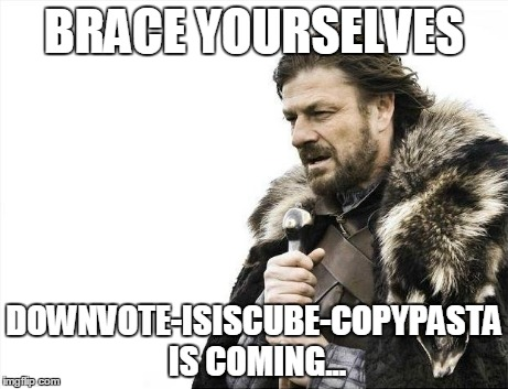 Brace Yourselves X is Coming | BRACE YOURSELVES DOWNVOTE-ISISCUBE-COPYPASTA IS COMING... | image tagged in memes,brace yourselves x is coming | made w/ Imgflip meme maker
