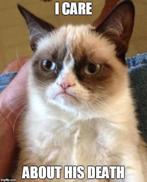 Grumpy Cat Meme | I CARE ABOUT HIS DEATH | image tagged in memes,grumpy cat | made w/ Imgflip meme maker