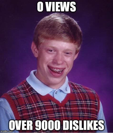 Bad Luck Brian Meme | O VIEWS OVER 9000 DISLIKES | image tagged in memes,bad luck brian | made w/ Imgflip meme maker
