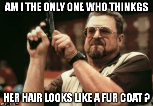 Am I The Only One Around Here Meme | AM I THE ONLY ONE WHO THINKGS HER HAIR LOOKS LIKE A FUR COAT ? | image tagged in memes,am i the only one around here | made w/ Imgflip meme maker