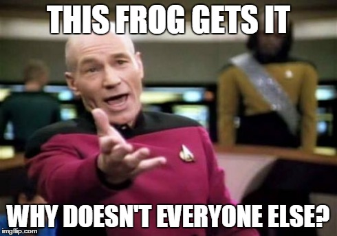 Picard Wtf Meme | THIS FROG GETS IT WHY DOESN'T EVERYONE ELSE? | image tagged in memes,picard wtf | made w/ Imgflip meme maker