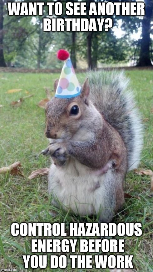 Super Birthday Squirrel | WANT TO SEE ANOTHER BIRTHDAY? CONTROL HAZARDOUS ENERGY BEFORE YOU DO THE WORK | image tagged in memes,super birthday squirrel | made w/ Imgflip meme maker