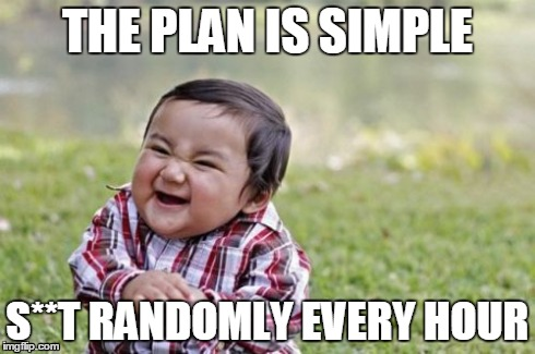 Random S**T | THE PLAN IS SIMPLE S**T RANDOMLY EVERY HOUR | image tagged in memes,evil toddler,the plan is simple,shit | made w/ Imgflip meme maker