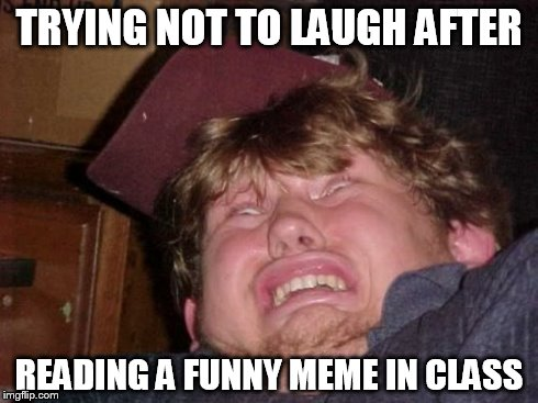 WTF | TRYING NOT TO LAUGH AFTER READING A FUNNY MEME IN CLASS | image tagged in memes,wtf | made w/ Imgflip meme maker