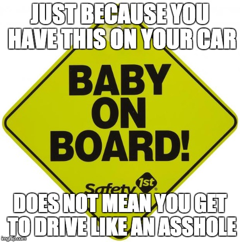 JUST BECAUSE YOU HAVE THIS ON YOUR CAR DOES NOT MEAN YOU GET TO DRIVE LIKE AN ASSHOLE | image tagged in baby on board,AdviceAnimals | made w/ Imgflip meme maker