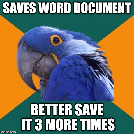 Paranoid Parrot | SAVES WORD DOCUMENT BETTER SAVE IT 3 MORE TIMES | image tagged in memes,paranoid parrot | made w/ Imgflip meme maker