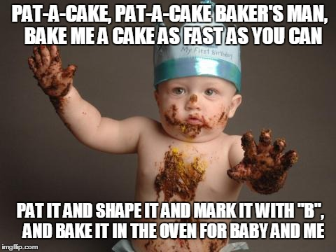 "Chocolate baby king | PAT-A-CAKE, PAT-A-CAKE BAKER'S MAN,  BAKE ME A CAKE AS FAST AS YOU CAN PAT IT AND SHAPE IT AND MARK IT WITH ""B"",  AND BAKE IT IN THE OVEN FO 