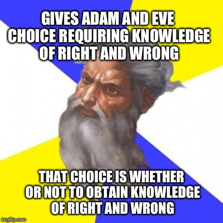 Advice God | GIVES ADAM AND EVE CHOICE REQUIRING KNOWLEDGE OF RIGHT AND WRONG THAT CHOICE IS WHETHER OR NOT TO OBTAIN KNOWLEDGE OF RIGHT AND WRONG | image tagged in memes,advice god | made w/ Imgflip meme maker