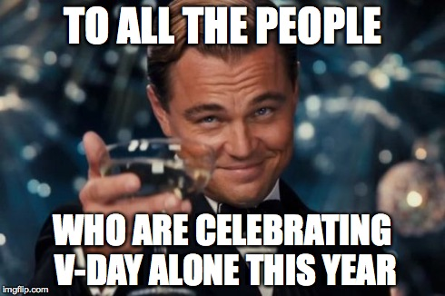 You aren't the only ones. ;) | TO ALL THE PEOPLE WHO ARE CELEBRATING V-DAY ALONE THIS YEAR | image tagged in memes,leonardo dicaprio cheers,valentine's day | made w/ Imgflip meme maker