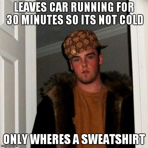My Brother | LEAVES CAR RUNNING FOR 30 MINUTES SO ITS NOT COLD ONLY WHERES A SWEATSHIRT | image tagged in memes,scumbag steve,idle | made w/ Imgflip meme maker