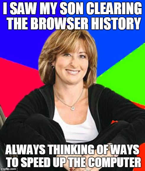 Sheltering Suburban Mom | I SAW MY SON CLEARING THE BROWSER HISTORY ALWAYS THINKING OF WAYS TO SPEED UP THE COMPUTER | image tagged in memes,sheltering suburban mom | made w/ Imgflip meme maker