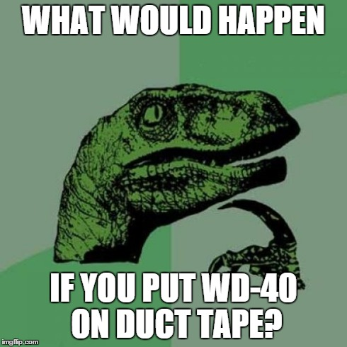 Philosoraptor Meme | WHAT WOULD HAPPEN IF YOU PUT WD-40 ON DUCT TAPE? | image tagged in memes,philosoraptor | made w/ Imgflip meme maker