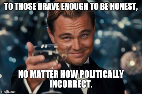Leonardo Dicaprio Cheers Meme | TO THOSE BRAVE ENOUGH TO BE HONEST, NO MATTER HOW POLITICALLY INCORRECT. | image tagged in memes,leonardo dicaprio cheers | made w/ Imgflip meme maker